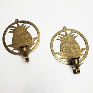 Vtg Gold Brass Pinnapple Candle Wall Sconces India